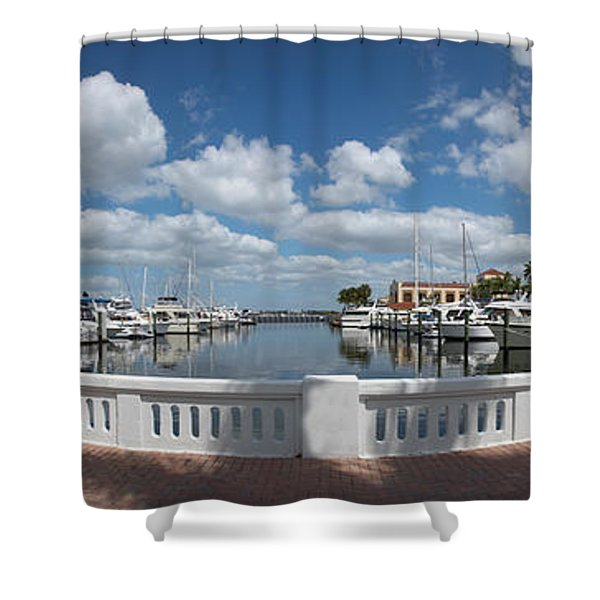 Park At The Riverside, Twin Dolphin Shower Curtain