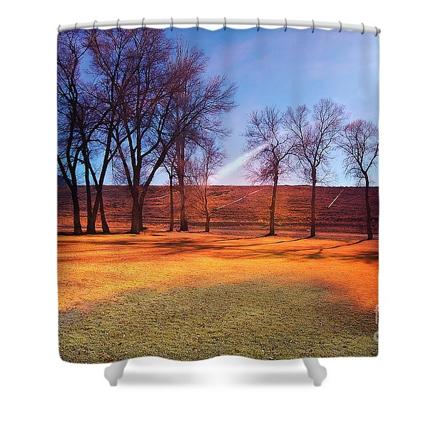 Shower Curtain featuring the photograph Park In Mcgill Near Ely Nv In The Evening Hours by Gunter Nezhoda