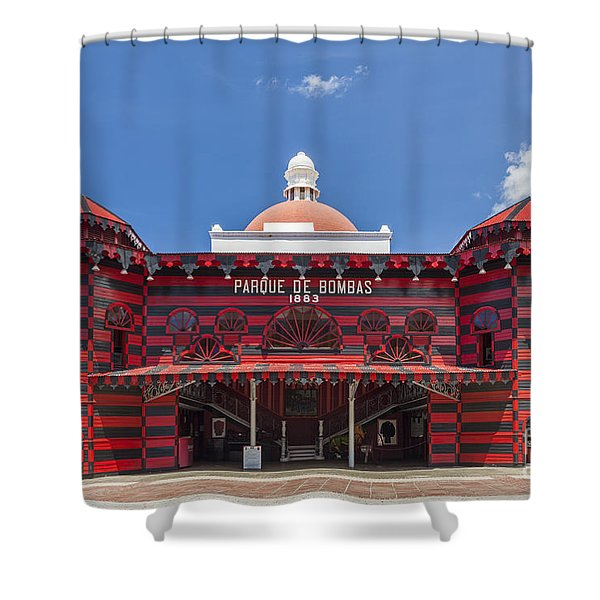 Shower Curtain featuring the photograph Parque De Bombas Fire Station In Ponce Puerto Rico by Bryan Mullennix