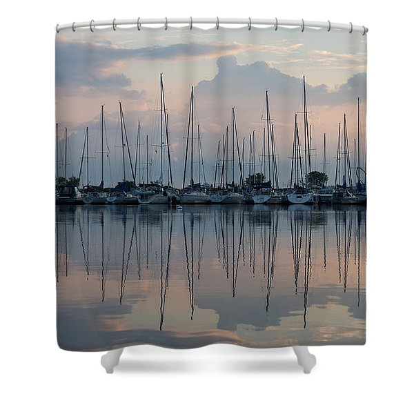 Pastel Sailboats Reflections At Dusk Shower Curtain