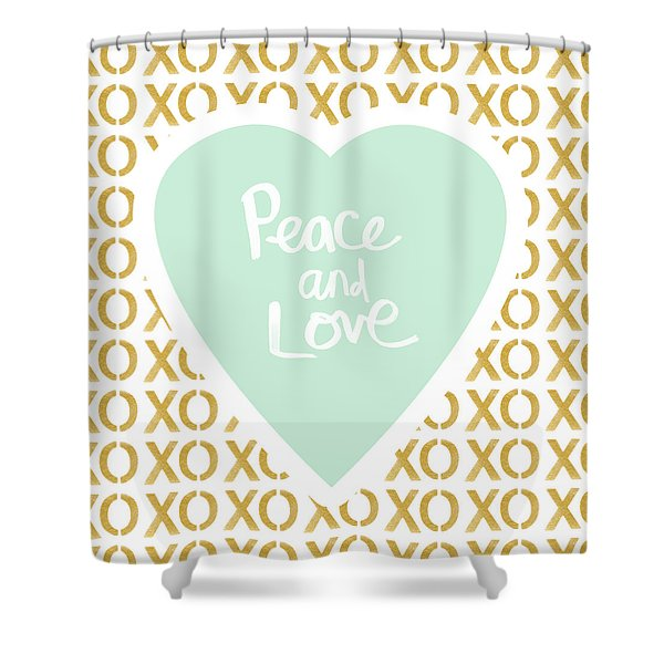 Peace And Love In Aqua And Gold Shower Curtain