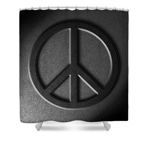Peace Sign Stone Texture Shower Curtain