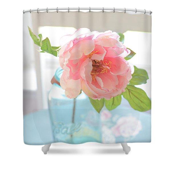 Dreamy Peony Vintage Mason Ball Jar - Ethereal Dreamy Peony Flower Shabby Chic Aqua Peach White  Shower Curtain