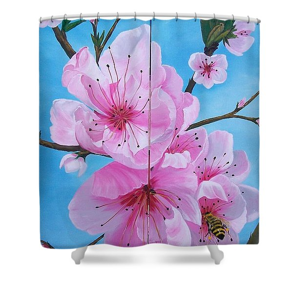 Peach Tree In Bloom Diptych Shower Curtain