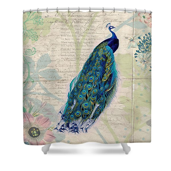 Peacock And Botanical Art Shower Curtain