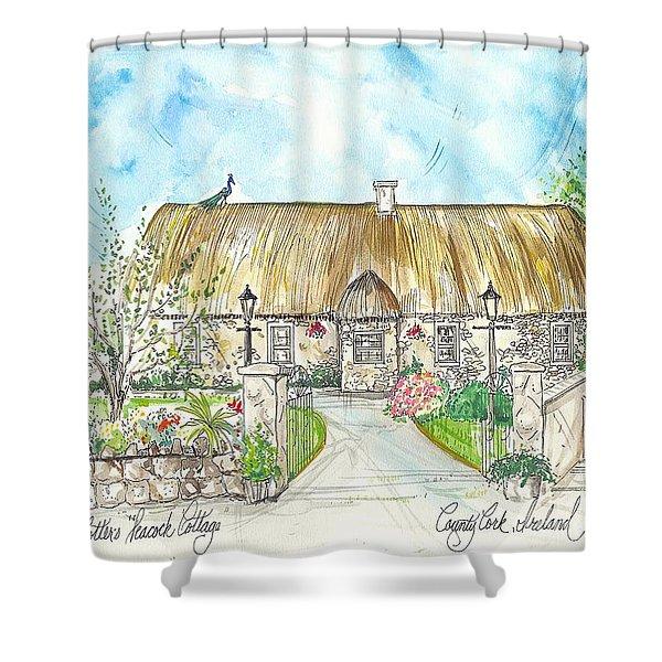 House Portrait Peacock Cottage Kanturk County Cork Ireland Shower Curtain