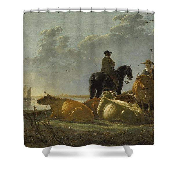 Peasants And Cattle By The River Merwede, C.1655-60 Oil On Panel Shower Curtain