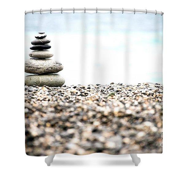 Pebble Stone On Beach Shower Curtain