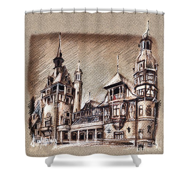 Peles Castle Romania Drawing Shower Curtain