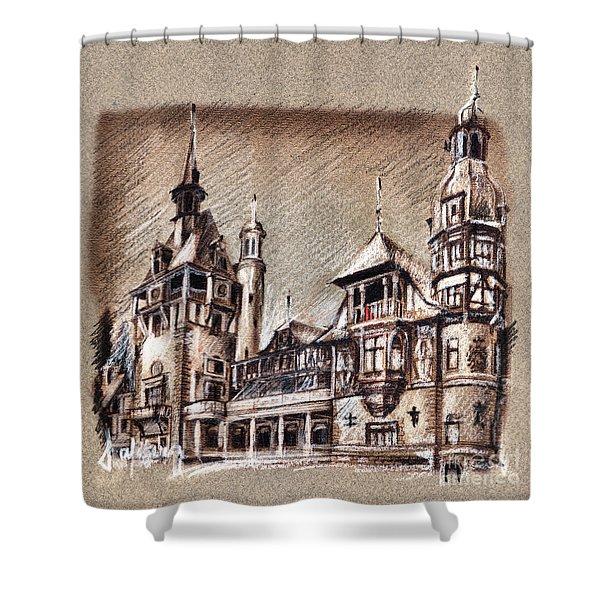 Peles Castle Romania Drawing Shower Curtain