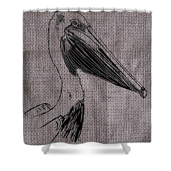 Pelican On Burlap Shower Curtain