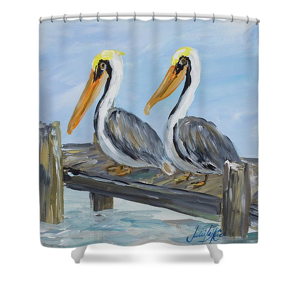 Pelicans On Deck Shower Curtain