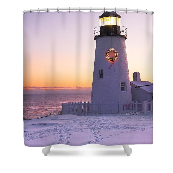 Pemaquid Point Lighthouse Christmas Snow Wreath Maine Shower Curtain