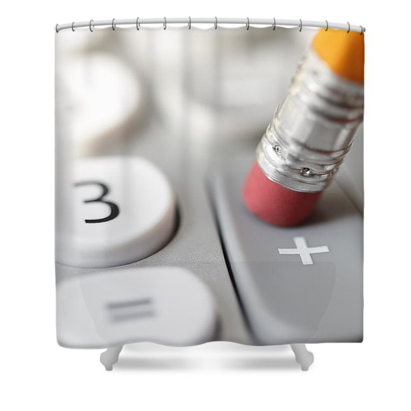 Shower Curtain featuring the photograph Pencil Pushing Addition Button On Calculator by Bryan Mullennix
