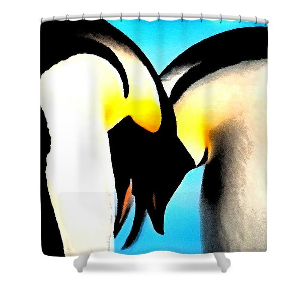 Penquin Love Dance Shower Curtain