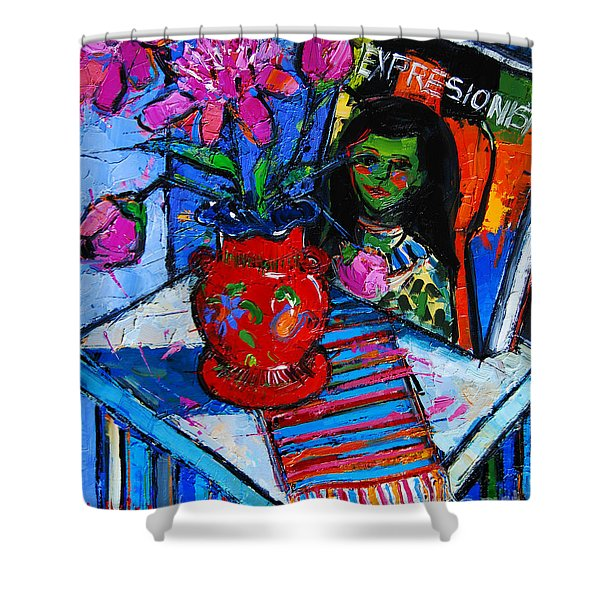 Peonies And Art Book Shower Curtain
