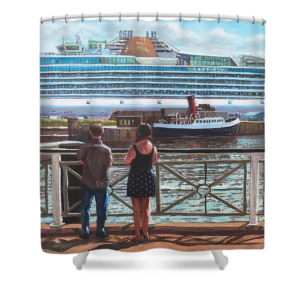 People At Southampton Eastern Docks Viewing Ship Shower Curtain