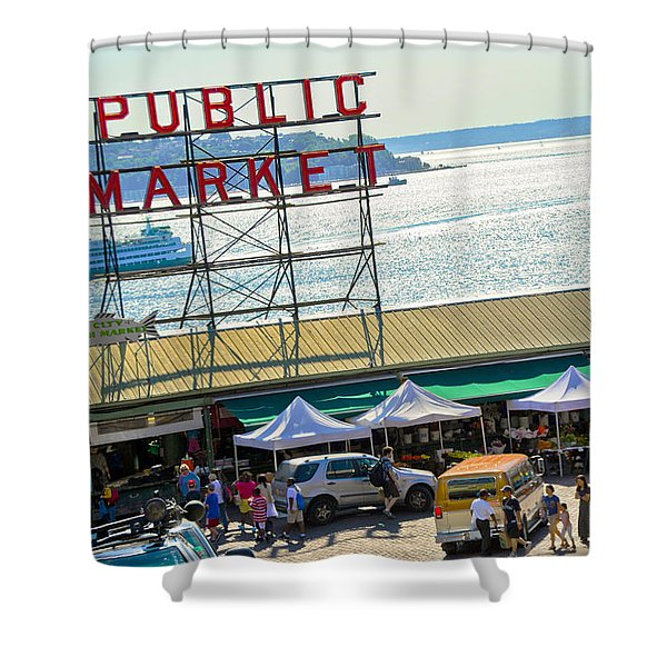 People In A Public Market, Pike Place Shower Curtain