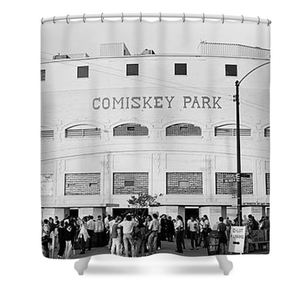 People Outside A Baseball Park, Old Shower Curtain
