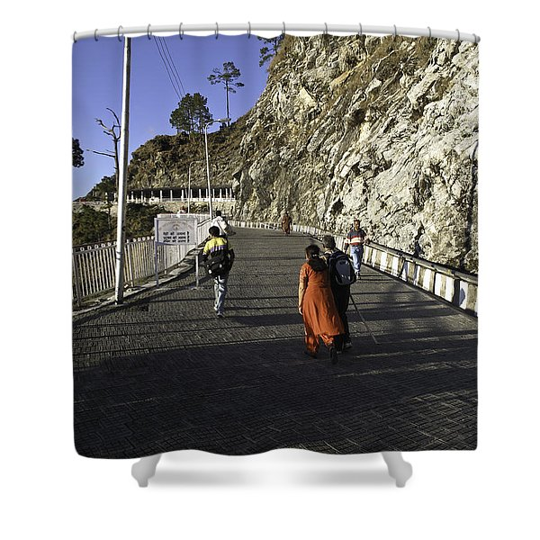 People Walking On The Path Leading To Shrine Of Vaishno Devi Shower Curtain