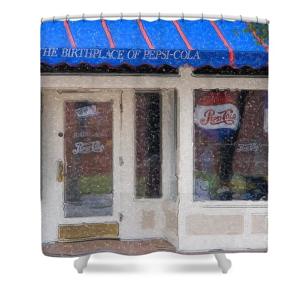 Pepsi Cola Birthplace Watercolor Shower Curtain