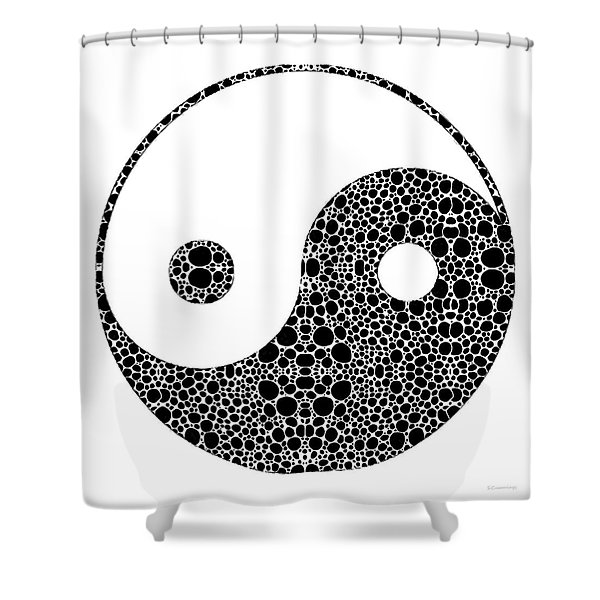 Perfect Balance 1 - Yin And Yang Stone Rock'd Art By Sharon Cummings Shower Curtain
