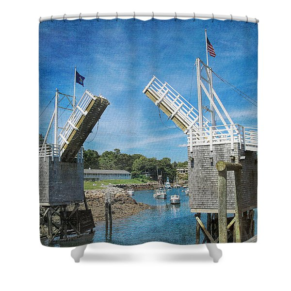 Shower Curtain featuring the photograph Perkins Cove Drawbridge Textured by Jemmy Archer