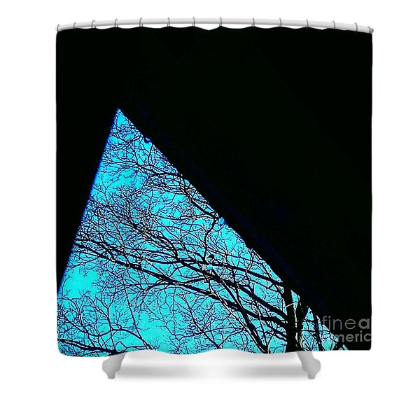 Blue Triangle Shower Curtain
