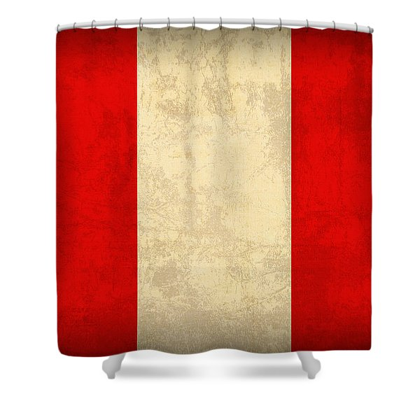 Peru Flag Vintage Distressed Finish Shower Curtain