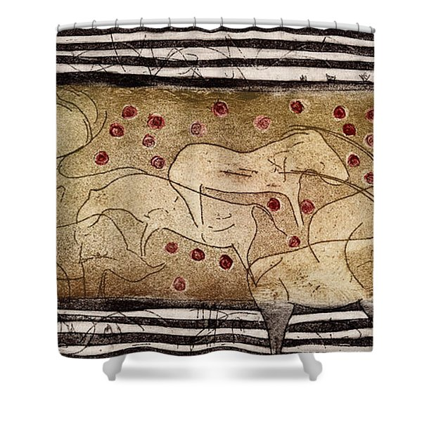 Petroglyph - Ensemble Of Red Dots And Short Strokes - Prehistoric Art - The Plains - Prarie Country Shower Curtain