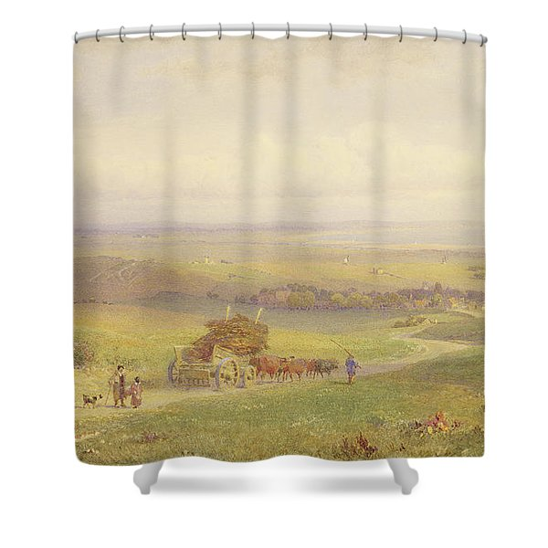 Pevensey Bay, Sussex, 1868 Wc, Bc, Graphite And Scraping On Paper Shower Curtain