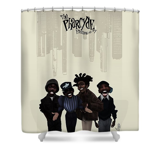 Shower Curtain featuring the digital art Pharcyde -passing Me By 1 by Nelson dedos Garcia