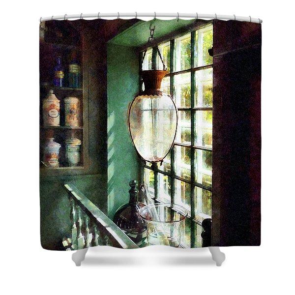 Pharmacy - Glass Mortar And Pestle On Windowsill Shower Curtain