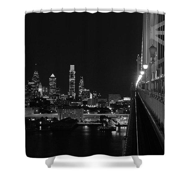 Philadelphia Night B/w Shower Curtain