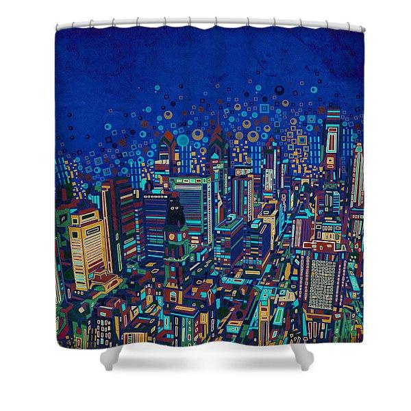 Philadelphia Panorama Pop Art 2 Shower Curtain