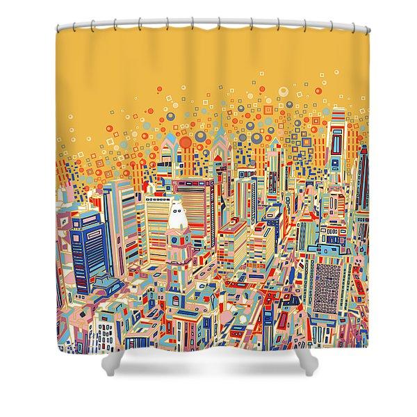 Philadelphia Panorama Pop Art Shower Curtain