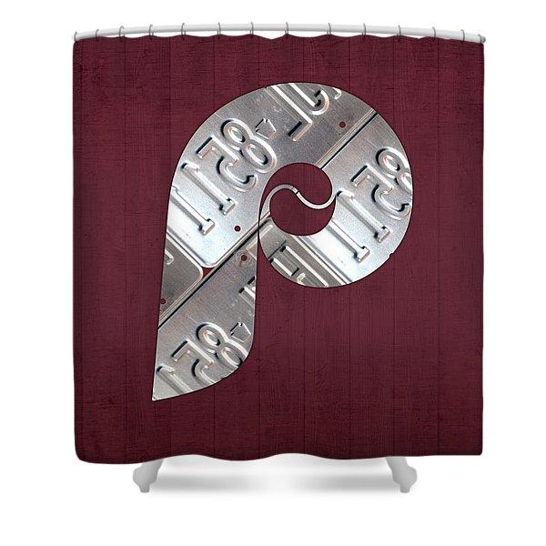 Philadelphia Phillies Baseball Team Vintage Logo Recycled Pennsylvania License Plate Art Shower Curtain