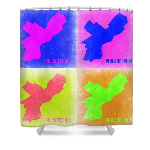 Philadelphia Pop Art Map 2 Shower Curtain