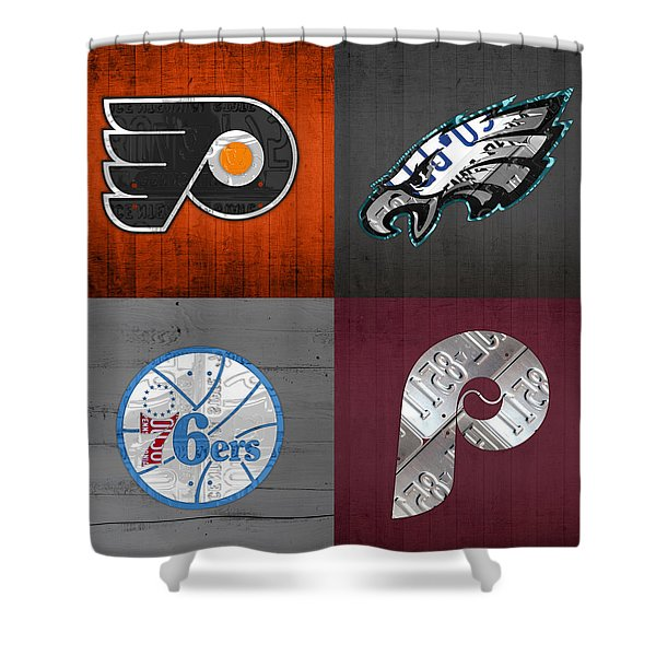 Philadelphia Sports Fan Recycled Vintage Pennsylvania License Plate Art Flyers Eagles 76ers Phillies Shower Curtain