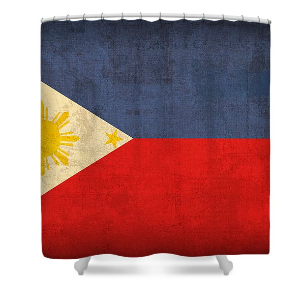 Philippines Flag Vintage Distressed Finish Shower Curtain