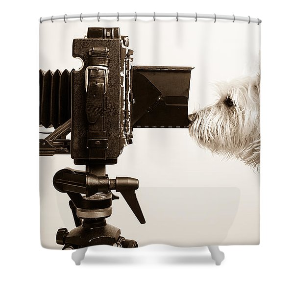 Shower Curtain featuring the photograph Pho Dog Grapher by Edward Fielding