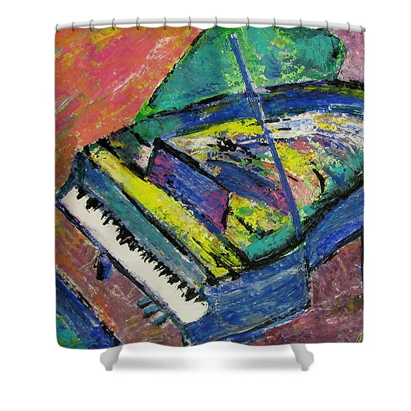 Shower Curtain featuring the painting Piano Blue by Anita Burgermeister