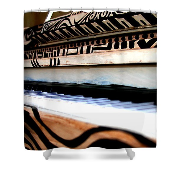 Piano In The Dark - Music By Diana Sainz Shower Curtain