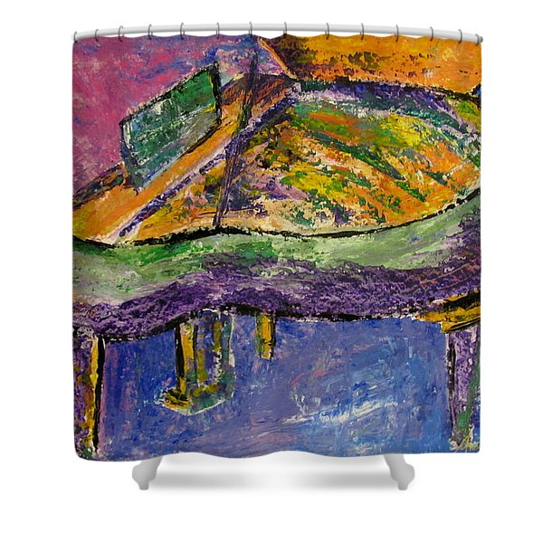 Shower Curtain featuring the painting Piano Purple by Anita Burgermeister