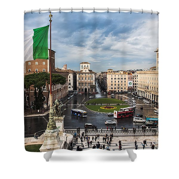 Shower Curtain featuring the photograph Piazza Venezia by John Wadleigh