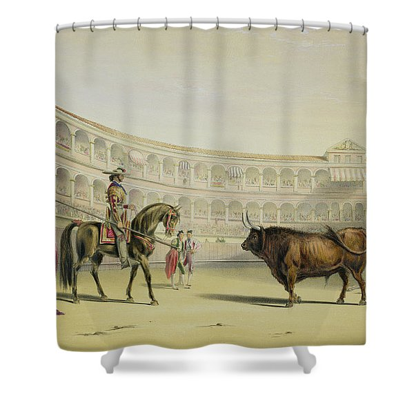 Picador Challenging The Bull, 1865 Shower Curtain