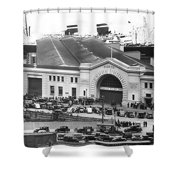 Pickets At The Sf Docks. Shower Curtain
