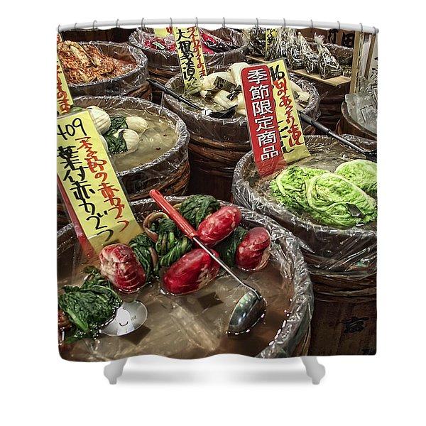 Pickled Vegetables Street Vendor - Kyoto Japan Shower Curtain