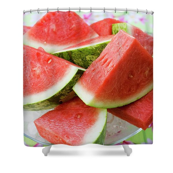 Pieces Of Watermelon On A Glass Platter Shower Curtain