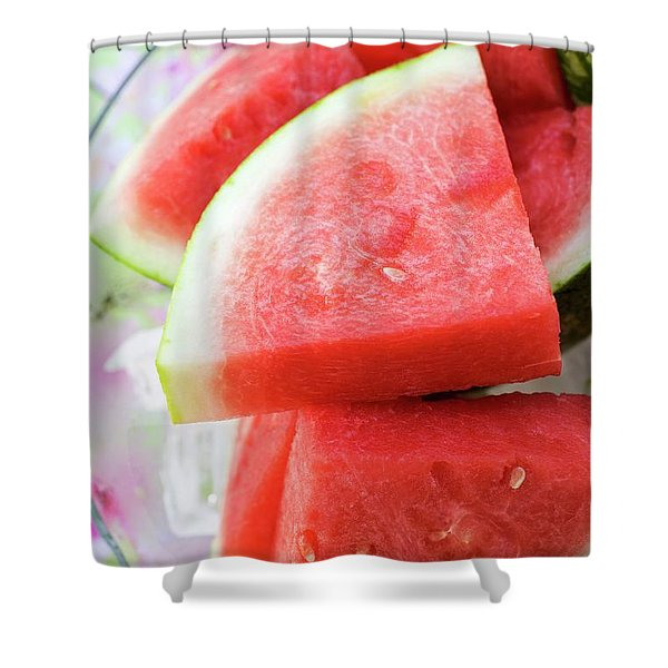 Pieces Of Watermelon On A Platter Shower Curtain